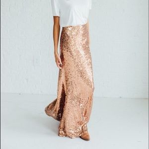Maniju Rose Gold Sequined Maxi Skirt ✨